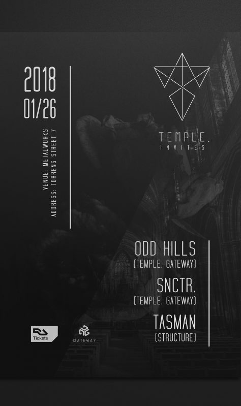 Banner design for Techno event in London, UK hosted by Temple. Recordings | IKOMS. Graphic design